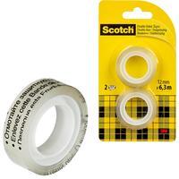 Клейкая лента канцелярская Scotch двусторонняя прозрачная 12 мм x 6.3 м (2 штуки в упаковке)