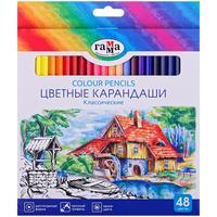 Карандаши цветные Гамма 48 цветов шестигранные