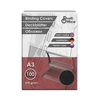 Обложки для переплета картонные ProfiOffice A3 270 г/кв.м черные текстура кожа (100 штук в упаковке)