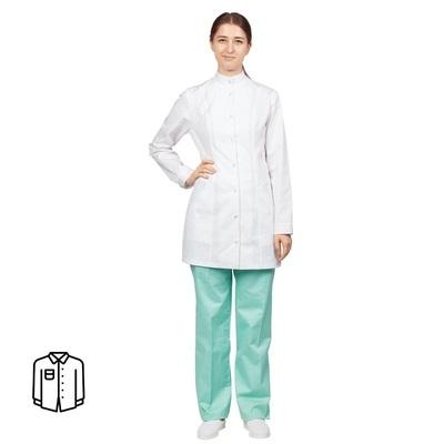Блуза медицинская женская удлиненная м13-БЛ длинный рукав белая (размер 52-54, рост 170-176)