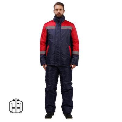 Куртка рабочая зимняя мужская з38-КУ с СОП темно-синяя/красная (размер 52-54, рост 182-188)