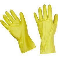 Перчатки латексные с хлопковым напылением эконом желтые (размер 9, L)