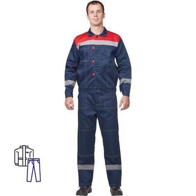 Костюм рабочий летний мужской л20-КБР с СОП синий/красный (размер 64-66, рост 170-176)