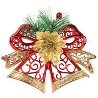 Новогоднее украшение Подвеска Колокольчики пластик красные/золотистые (высота 14.7 см)