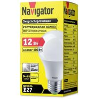 Лампа светодиодная Navigator 12 Вт Е 27 грушевидная 4000 К нейтральный белый свет