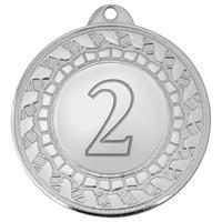 Медаль призовая 2 место 45 мм серебристая