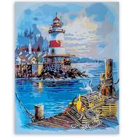 Картина по номерам Цветной Пирс у маяка