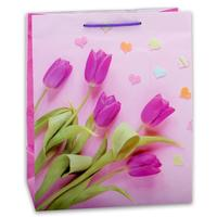 Пакет подарочный ламинированный Нежные тюльпаны (31x22x10 см)