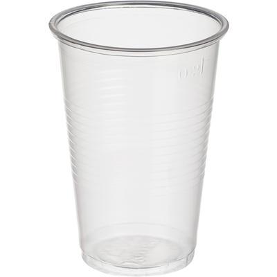 Стакан одноразовый пластиковый 200 мл прозрачный 100 штук в упаковке Комус Стандарт