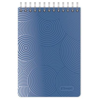 Блокнот Комус Пластик-Металлик А6 80 листов синий в клетку на спирали (106х162 мм)