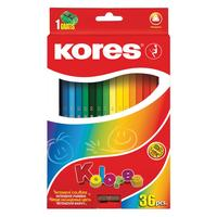 Карандаши цветные Kores 36 цветов трехгранные с точилкой