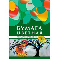 Бумага цветная Hatber Геометрия цвета Жар-птица (А4, 10 листов, 10 цветов, мелованная, металлик)