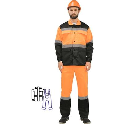 Костюм рабочий летний мужской лд01-КПК с СОП оранжевый/черный (размер 44-46, рост 182-188)