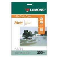 Фотобумага для цветной  струйной печати Lomond односторонняя (матовая, А4, 200 г/кв.м, 50 листов, артикул производителя 0102033)