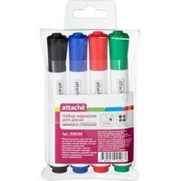 Набор маркеров для досок Attache мокрого стирания 4 цвета (толщина линии 2-5 мм)