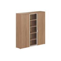 Шкаф Персона комбинированный со стеклянной дверцей (орех лион, 1833x450x2006 мм)