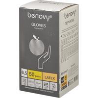 Перчатки медицинские хирургические латексные Benovy стерильные неопудренные размер 6,5 (100 штук в упаковке)