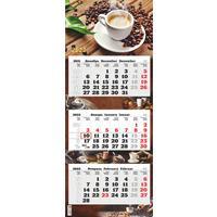 Календарь квартальный трехблочный настенный 2022 год Кофе (340х840 мм)