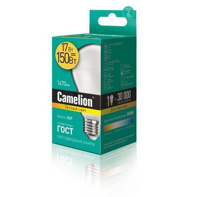 Лампа светодиодная Camelion 17 Вт Е27 грушевидная 3000 К теплый белый свет