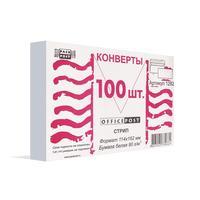 Конверт OfficePost С6 80 г/кв.м белый стрип с внутренней запечаткой (100 штук в упаковке)