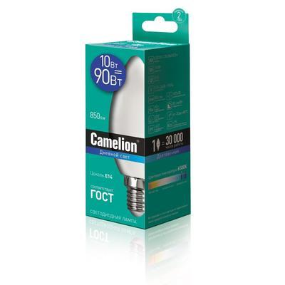 Лампа светодиодная Camelion  10 Вт Е14 свеча 6500 К белый свет