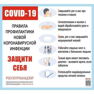 Информационный стенд COVID-19 Правила профилактики новой инфекции Защити себя настенный 47 см x 43 см пластиковый