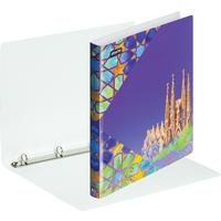 Папка на 4-х кольцах Attache Selection Travel 35 мм фиолетовая с рисунком до 250 листов (пластик 0.55 мм)