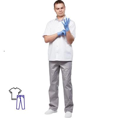 Костюм медицинский мужской м11-КБР короткий рукав белый/серый (размер 44-46, рост 170-176)