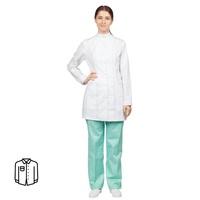 Блуза медицинская женская удлиненная м13-БЛ длинный рукав белая (размер 48-50, рост 158-164)