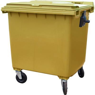 Контейнер-бак мусорный 1100 л пластиковый на 4-х колесах с крышкой желтый