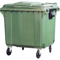 Контейнер-бак мусорный 1100 л пластиковый на 4-х колесах с крышкой зеленый