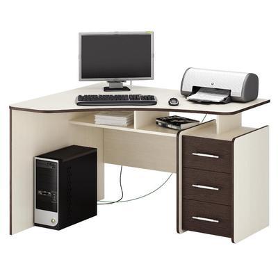 Стол компьютерный угловой Триан-5 (дуб молочный/венге, 1200x750x900 мм)