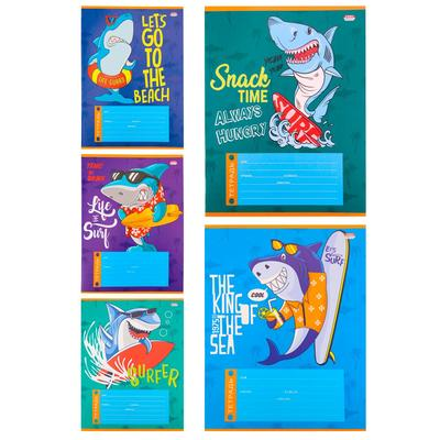 Тетрадь школьная Проф-пресс Акула-серфер А5 12 листов в косую линейку (обложка в ассортименте)