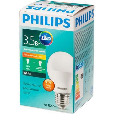 Лампа светодиодная Philips 3.5 Вт E27 грушевидная 3000 K теплый белый свет