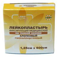 Пластырь фиксирующий Leiko plaster 1.25x500 см тканевая основа