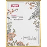 Рамка Attache A3 30x40 см пластиковый багет 14 мм золотистая (стекло)