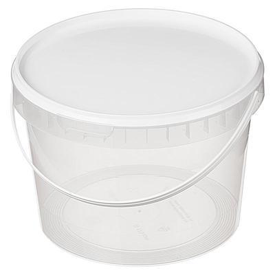 Ведро пластиковое прозрачное 2000 мл диаметр 170 мм высота 122 мм (135 штук в упаковке)