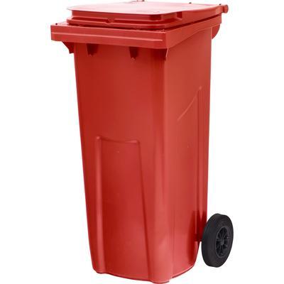 Контейнер-бак мусорный 120 л пластиковый на 2-х колесах с крышкой красный