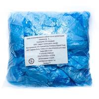Бахилы одноразовые полиэтиленовые гладкие СЗПИ 3 г синие (50 пар в  упаковке)