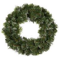 Венок хвойный Рождественский Праздничный заснеженный 40 см зеленый