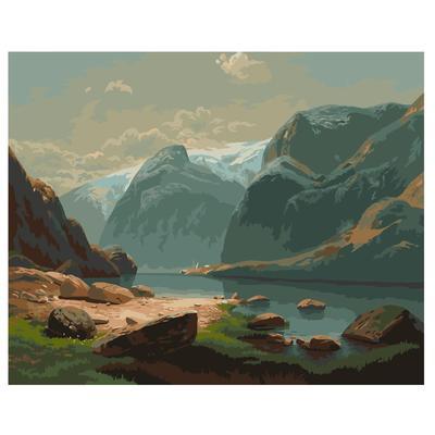 Картина по номерам Фрея Озеро в горах Швейцарии