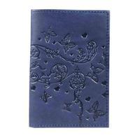 Обложка для паспорта из натуральной кожи синего цвета (1,2-040-203-0)