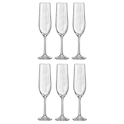 Набор бокалов для шампанского Bohemia Crystal Waterfall 190 мл (в наборе 6 штук)