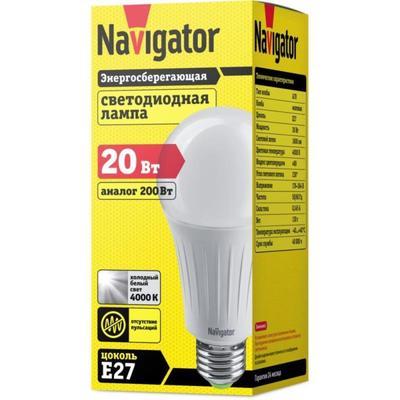 Лампа светодиодная Navigator 20 Вт E27 грушевидная 4000 К нейтральный белый свет