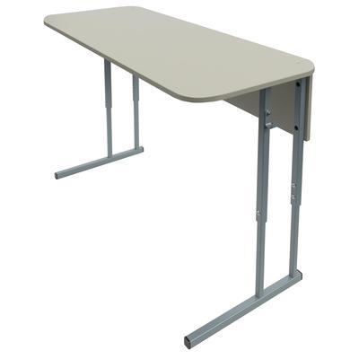 Стол ученический двухместный с закругленными углами (серый, рост 5-7)