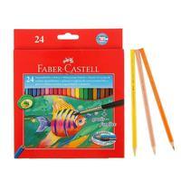 Карандаши цветные акварельные Faber-Castell 24 цвета шестигранные с кистью