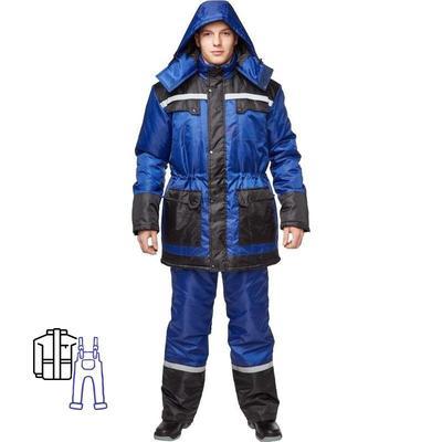Костюм рабочий зимний мужской з27-КПК с СОП синий/черный (размер 64-66, рост 182-188)
