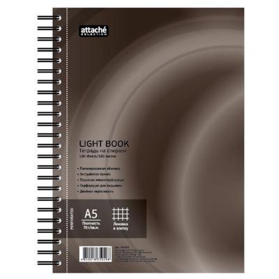 Бизнес-тетрадь Attache Selection LightBook А5 100 листов коричневая в клетку на спирали (160х204 мм)