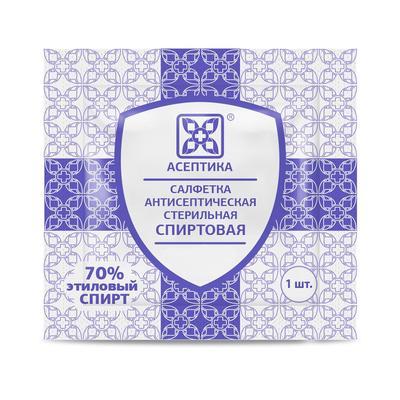 Салфетка для инъекций Асептика спиртовая 30x60 мм (20 штук в упаковке)