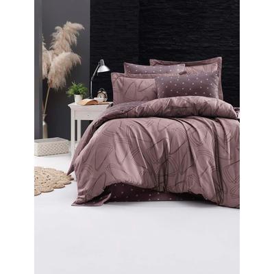Постельное белье DO&CO Rovena фиолетовое (2-спальное с европростыней, 2 наволочки 50x70 см, 2 наволочки 70x70 см, сатин)